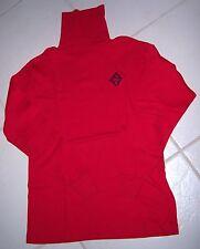 Vtg RALPH LAUREN Blue Label Turtleneck Shirt Top Knit L/S LOGO Red UNISEX M