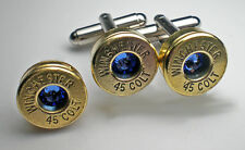 45 Colt Winchester Brass Bullet Cufflinks Lapel set Choice Birthstone Swarovski
