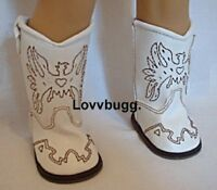 """White Cowboy Cowgirl Western Boots for American Girl 18"""" Doll Shoes US SELLER!"""