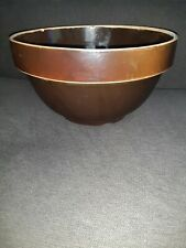 """Antique 10"""" Brown-glazed Mixing Bowl Collectible"""
