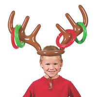Inflatable Reindeer Antler Hat Ring Toss Christmas Holiday Kids Party Game