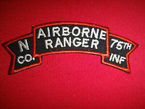 N Company US 75th Infantry Regiment AIRBORNE RANGER Vietnam War Scroll Patch