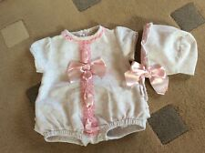 ABELLA...SPANISH..ROMANY GIRLS PINK WHITE ROMPER & BONNET OUTFIT... 6 - 12 Month