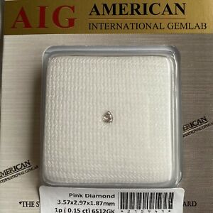 0.15ct UNTREATED Fancy Pink Loose Diamond AIG Certified Blister Pear Cut SI1 Gem