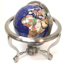 "Beautiful Large Alexander Kalifano Gemstone Globe 13"" Chrome Stand Compass Blue"
