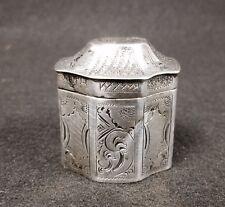 Antique Dutch .833 Silver Engraved Snuff Trinket Box