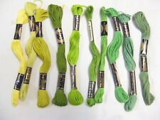 Bundle 10 skeins Clarks Anchor Green Yellow Stranded cotton embroidery thread