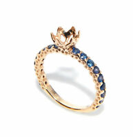Yellow gold ring 14k solid band semi mount engagement 6 mm round blue sapphire