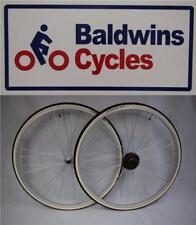 "27"" x 1 1/4 PAIR Q/R Bike Wheels + Premium White Wall Tyre's & 6 Speed Freewheel"