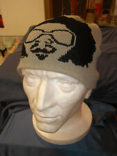 Mens Affro Perm Print Stretch Breathable Beanie Hat One Size Winter Ski Hat Grey