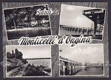 PIACENZA MONTICELLI D'ONGINA 04 SALUTI da... VEDUTINE Cartolina FOTOGR viag 1967