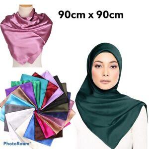 Square Plain Large Satin Soft Silk Head Hijab Shiny Scarf Neck Wrap 90cm X 90cm