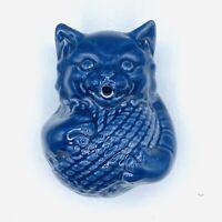 McCoy Cat String Yarn Holder Dark Blue Pottery Vintage