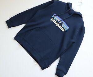 PATAGONIA men's P6 long sleeve hoodie dark blue size L