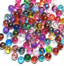 GL3422 Assorted Color Metallic Swirl Drawbench Round 8mm Glass Beads 100/pkg
