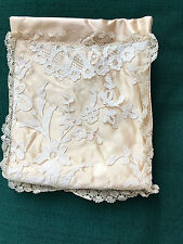 Pink Satin Vintage Accessory Hankerchief Stocking Holder Lace