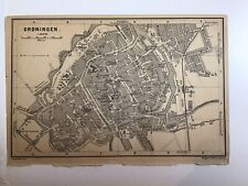 GRONINGEN, 1901 Antique City Street Map Original, Holland, RAILWAYS, Buildings