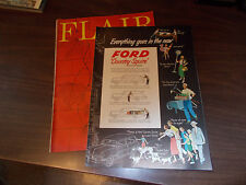 1950 Ford Country Squire Station Wagon & Crestliner RARE Ad in Flair Magazine