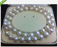 "Charming natural AAA 9-10mm south sea white pearl necklace 20"" 14k GOLD CLASP"