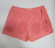 Blu Pepper Women's Medium Apricot Peach Crochet Cutout High Waisted Shorts