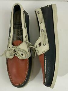 Sperry Top-Sider Mens Original 2-Eye Boat Shoes Leather 13 M Red/White/Blue