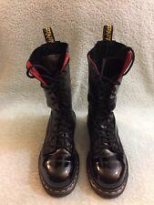 Vintage Dr Martens 1940/54 Black Patent Leather 14 Eye Boot Sz Uk 4 Us 6 England