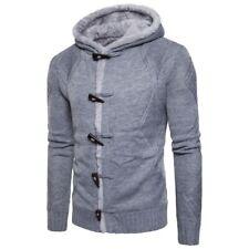 Men's Knitting Long sleeve Hooded Jacket Fleeces Lining Winter Western Leisure L
