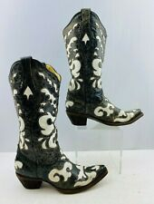 Ladies Corral Black/ White Leather Snip Toe Western Cowgirl Boots Size: 7.5 M
