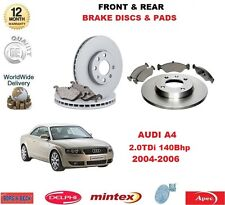 FOR AUDI A4 2.0 TDi 140Bhp 16v 2004-2008 NEW FRONT & REAR BRAKE PADS & DISCS