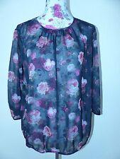 Neue Tom Tailor Damen Chiffon Bluse Mit Blumen Gr 40 NEU/OVP