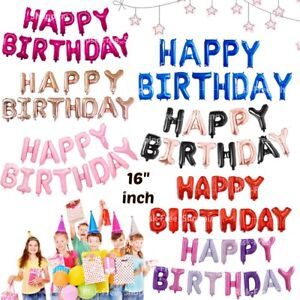 HAPPY BIRTHDAY BALLOONS Banner 16'' Foil Self Inflating Party DECORATION Bunting