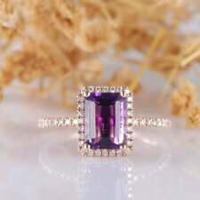 2Ct Emerald Cut Amethyst Diamond Halo Engagement Ring 14K Rose Gold Finish