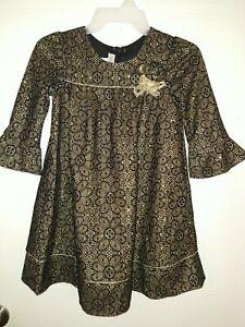 Girls Bonnie Jean Holiday Dress Fancy Dress Kids Dress 6x Gold Dress Black Party