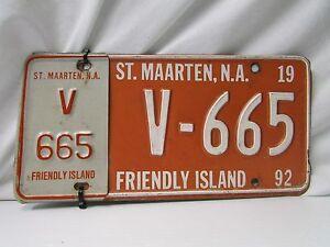 "Vintage St. Maarten, N.A.  Vehicle License Plate "" V-665"" ~ Single Plate ~ Date"