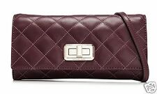 Michael Kors Shoulder Bag Hannah Quilted Leather Clutch Merlot New