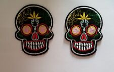 2 Skulls Dia de Los Muertos Halloween Embroidered Iron On Patches  *US SELLER*