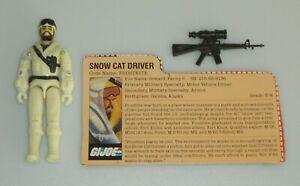 Lot 1985 GI Joe Frostbite Snow Cat Driver v1 Figure Gun & File Card *Complete