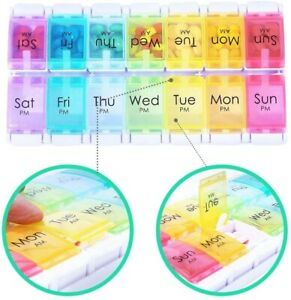 Weekly Tablet Organiser 14-day PillAM and PM Vitamin Storage Box Medicine Tray