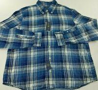 Men's SZ L Polo Ralph Lauren Classic Fit Blue Plaid Flannel Button Down Shirt