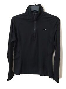 Champion Women Mock neck 1/4 Zip Sweatshirt Black Athletic Long Sleeve Shirt M