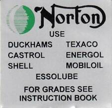 1972-74 Norton Commando 750, 850, (1) OEM OIL Recommendations Top Frame Decal