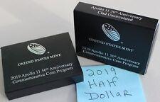 2019 Apollo 11 Clad BU US Mint Half Dollar Commemorative CURVED Coin Box & COA