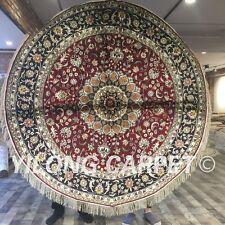 YILONG 6'x6' Handwoven Silk Carpet Round Living Room Indoor Rug ZW127C