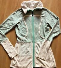 LULULEMON Long Lulu Lux Jacket Beechlu Soft Striped Mint Gray Cream size 4 Run