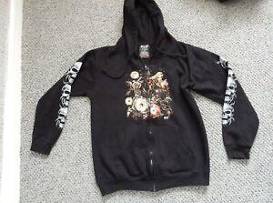 Black Skull Biker Goth Graphic Zip Up Hoodie Size M