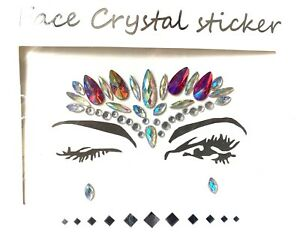 Festival Face gems and crystal jewelry stick on Red And Multicolor