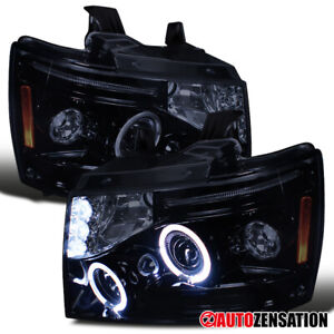 For 07-13 Chevy Tahoe Suburban Black Smoke LED Halo Projector Headlights L+R