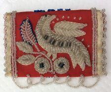 Antique 1900 Iroquois Native American vintage main stitced Sac à Main Kit De Couture