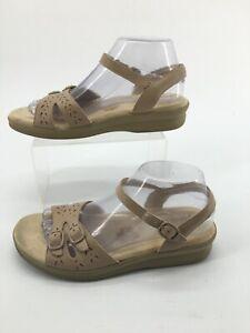 SAS Tripad Comfort Womens 8.5M Duo Ankle Strap Sandals Beige Leather Cut Out