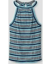 Girls' Ribbed Scoop-Neck Knit Tank Top by Art Class Blue Striped XS 4/5 NWT